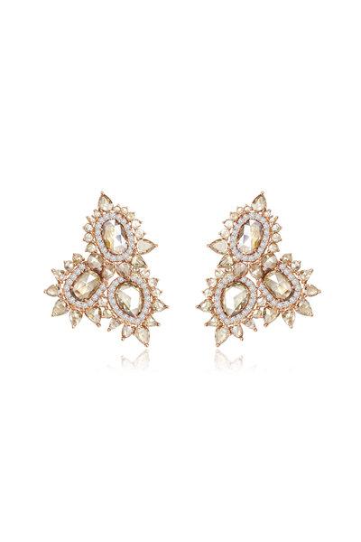Sutra - 18K Rose Gold Diamond Cluster Earrings