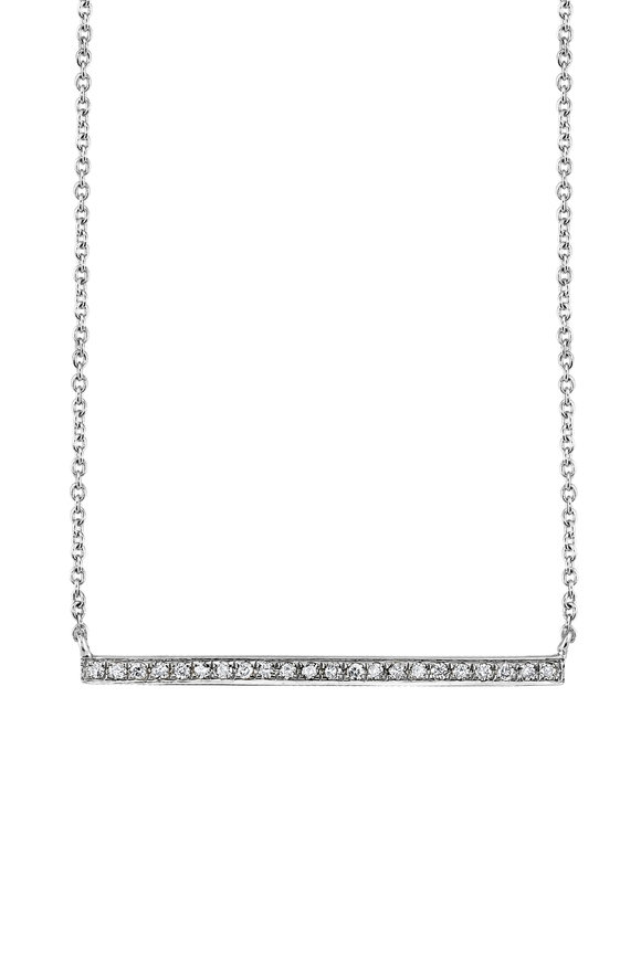 Sydney Evan 18K White Gold Pavé Diamond Bar Necklace