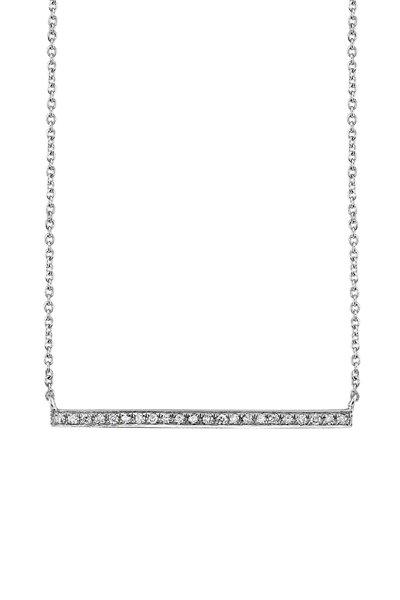 Sydney Evan - 18K White Gold Pavé Diamond Bar Necklace