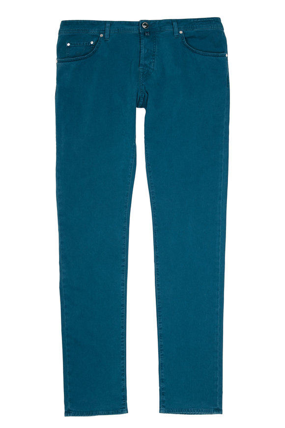 Jacob Cohen  Teal Brushed Stretch Cotton Slim Jean