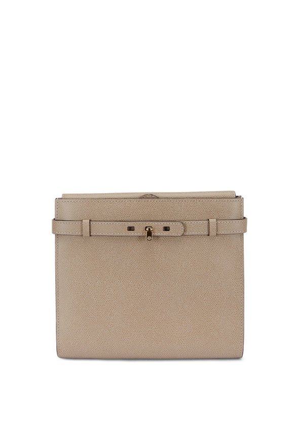 Valextra Brera Oyster Grained Leather Convertible Clutch