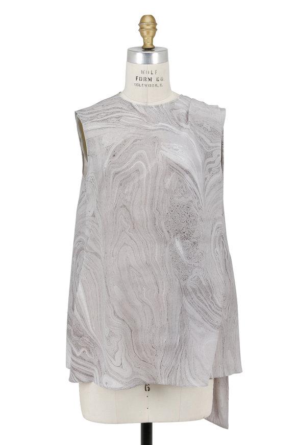 Alexander McQueen Gray Marble Print Silk Scarf Detail Sleeveless Top