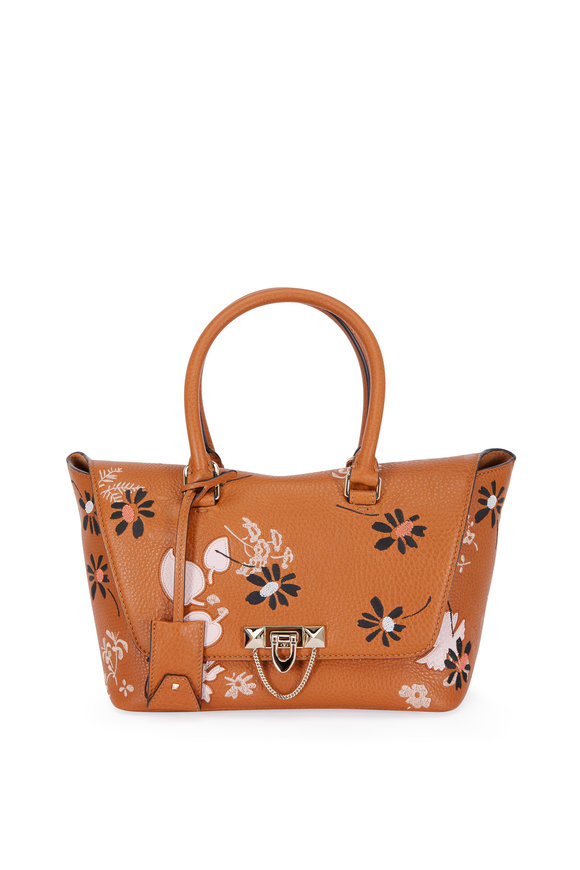 Valentino Demilune Cognac Floral Embroidered Top Handle Bag