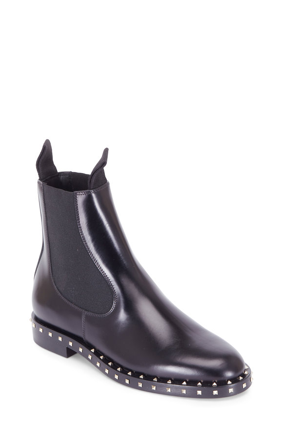 Valentino Soul Rockstud Black Leather Studded Beatles Boot