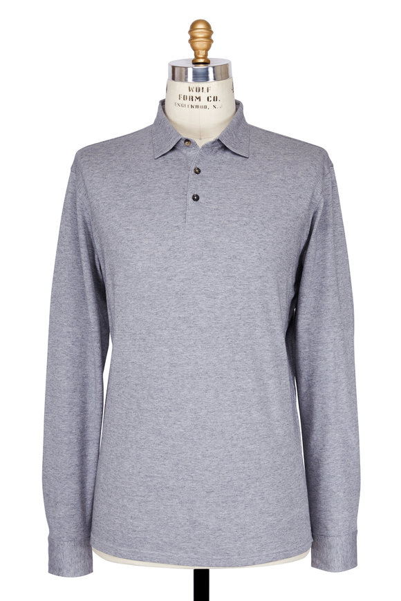 Peter Millar Grey Long Sleeve Polo