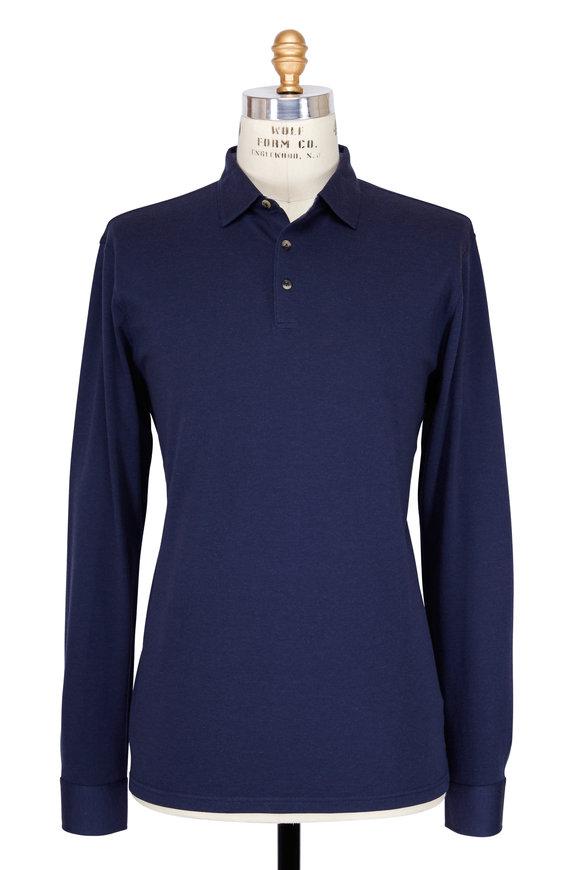 Peter Millar Navy Long Sleeve Polo