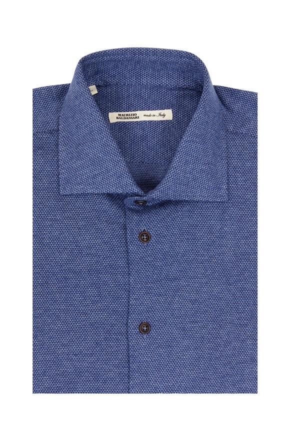 Maurizio Baldassari Fancy Solid Slate Blue Sport Shirt