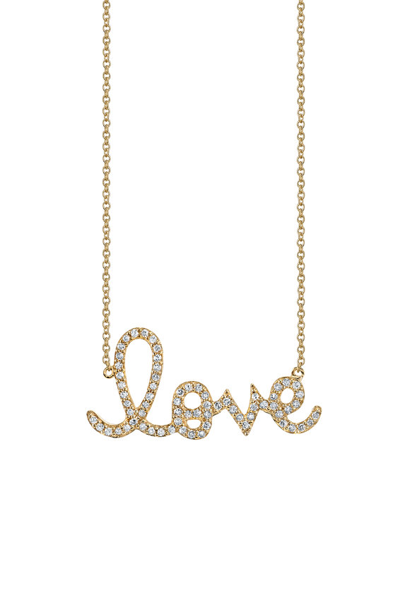 Sydney Evan Yellow Gold Diamond Love Necklace
