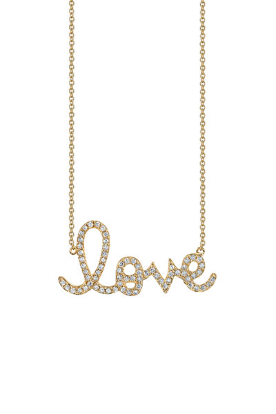 Sydney Evan - Yellow Gold Diamond Love Necklace