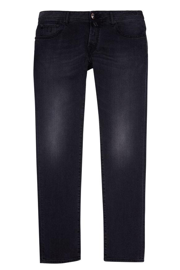 Jacob Cohen  Rinsed Black Stretch Cotton Slim Fit Jean