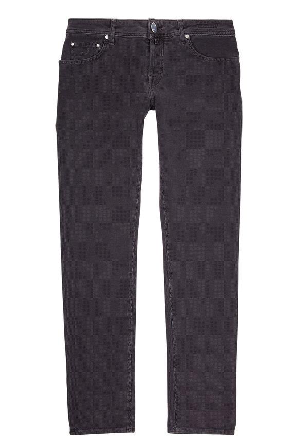 Jacob Cohen  Grey Tonal Zig-Zag Print Slim Fit Jean