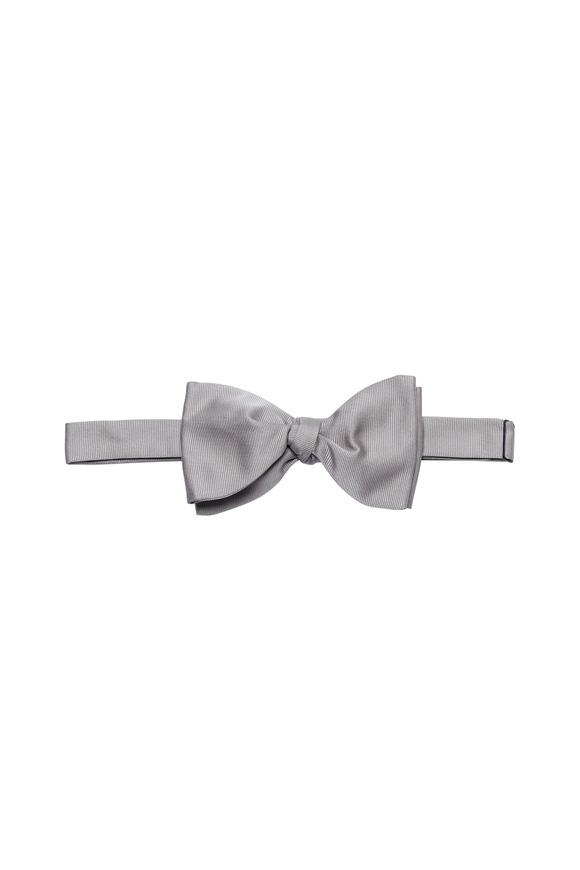 Brenda Kett Silver Faille Silk Bow Tie