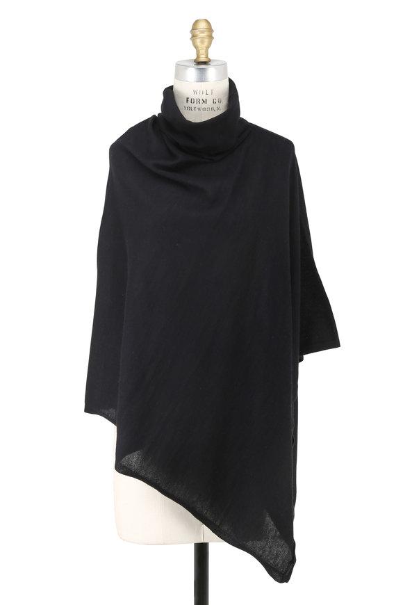 Kinross Black Cashmere Drape Neck Poncho