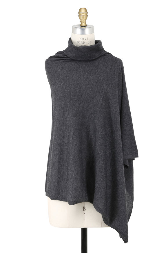 Kinross Charcoal Gray Cashmere Drape Neck Poncho