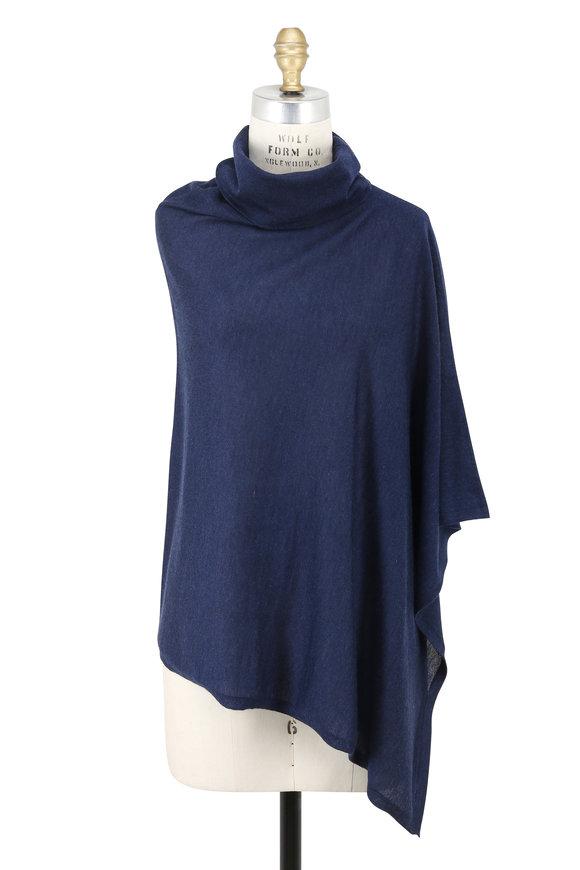 Kinross Dusk Blue Cashmere Drape Neck Poncho