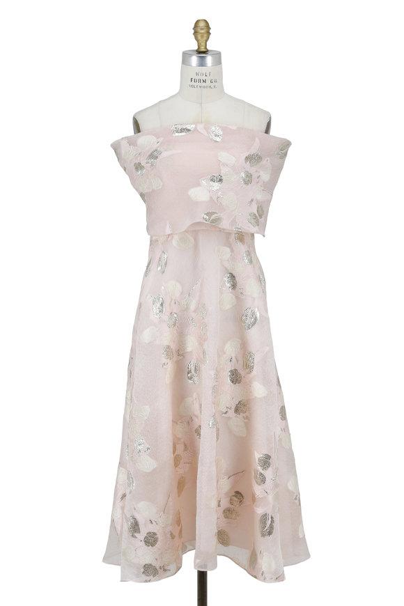 Lela Rose Blush & Silver Fil Coupe Off-The-Shoulder Dress