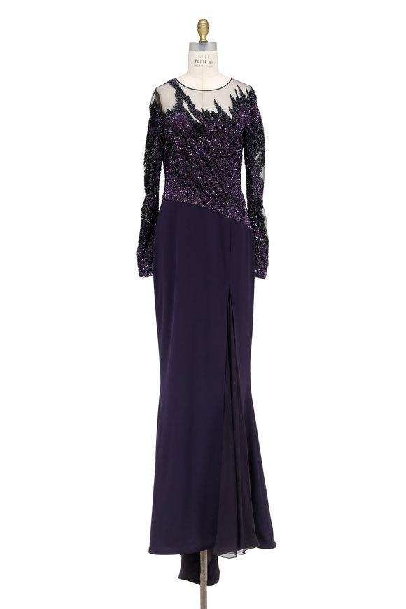 Pamella Roland Amethyst Brushstroke-Illusion Long Sleeve Gown