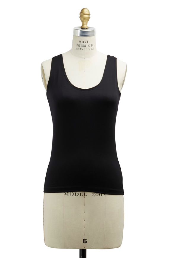 A'nue Ligne Black Tactel & Lycra Tank Top