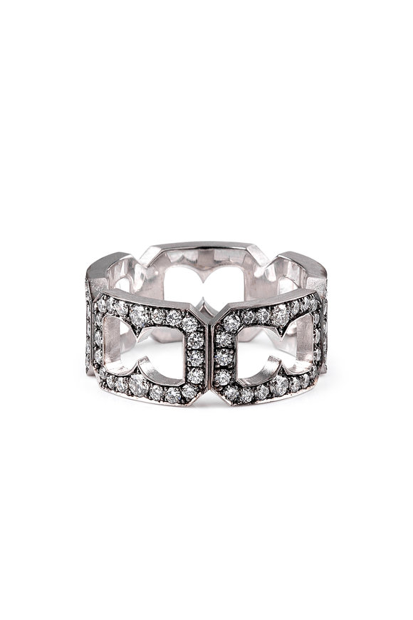 Sylva & Cie 18K White Gold Diamond Buckle Ring