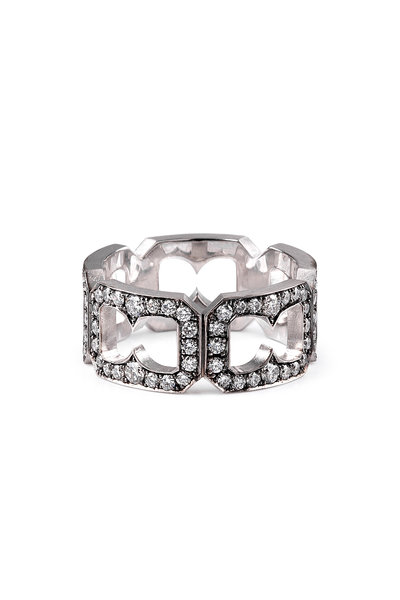 Sylva & Cie - 18K White Gold Diamond Buckle Ring