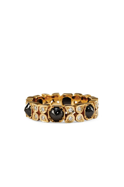 Sylva & Cie - 14K Yellow Gold Black & White Diamond Flower Ring