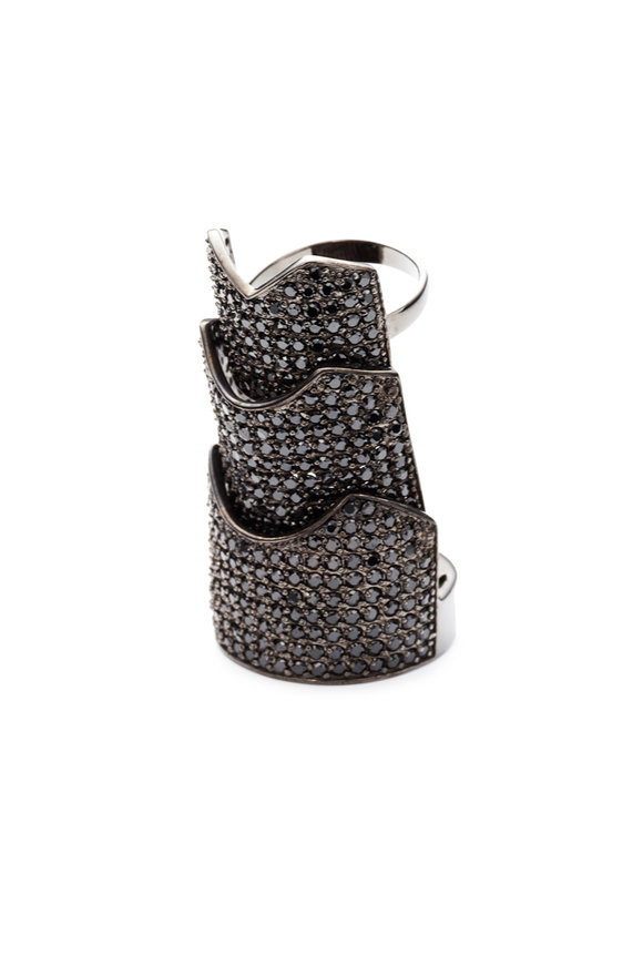 Eddie Borgo Gunmetal Plated Black Crystal Hinged Plate Ring
