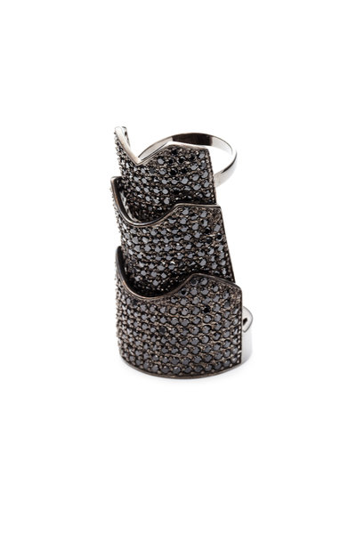 Eddie Borgo - Gunmetal Plated Black Crystal Hinged Plate Ring