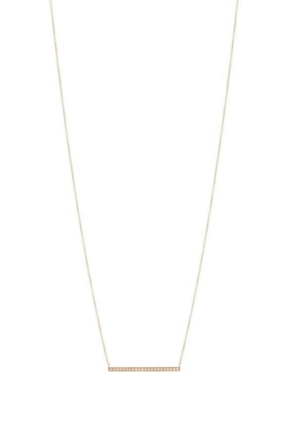 Sydney Evan Yellow Gold Long Bar Necklace
