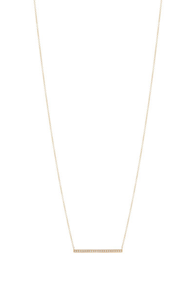 Sydney Evan - Yellow Gold Long Bar Necklace