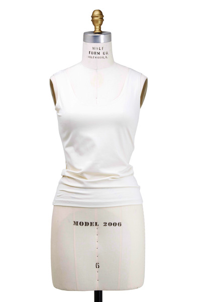 A'nue Ligne - Cream Tactel & Lycra Tank Top
