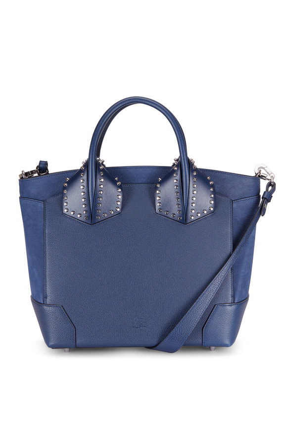 Christian Louboutin Eloise Navy Smooth & Grained Leather Large Tote
