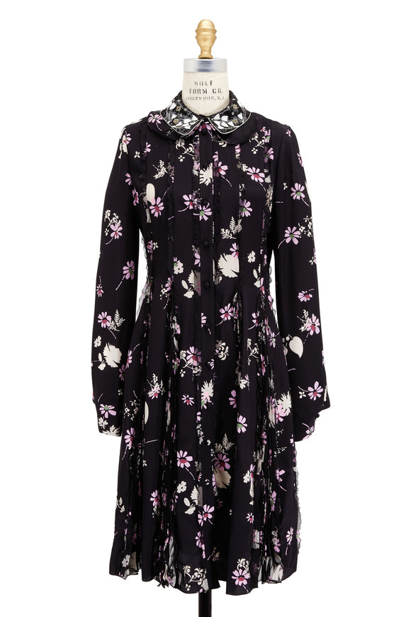 Valentino Black Crêpe De Chine Overprinted Floral Dress