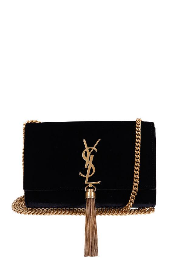 Saint Laurent Kate Monogram Black Velvet Small Chain Tassel Bag