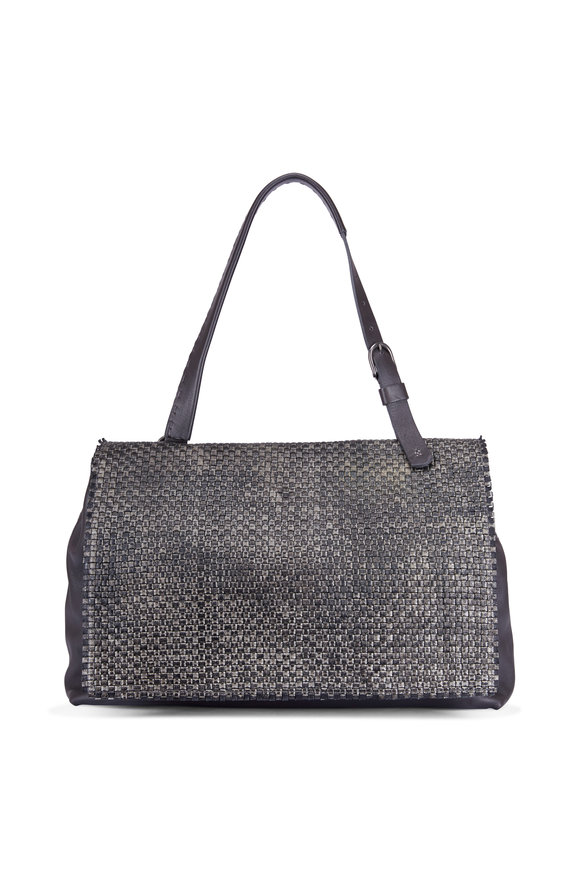 Henry Beguelin Taupe Leather Deconstructed Woven Shoulder Bag