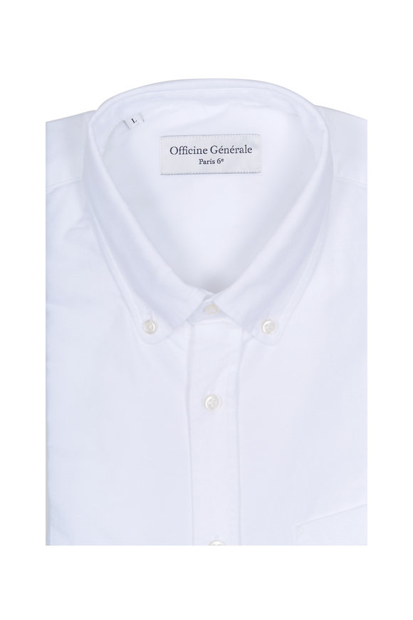 Officine Generale Anytime White Oxford Sport Shirt