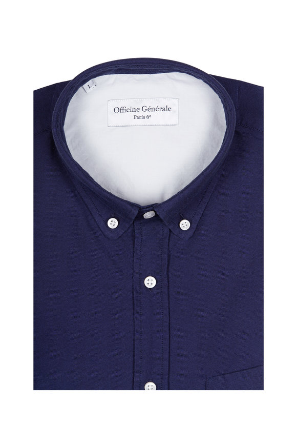 Officine Generale Anytime Navy Oxford Sport Shirt