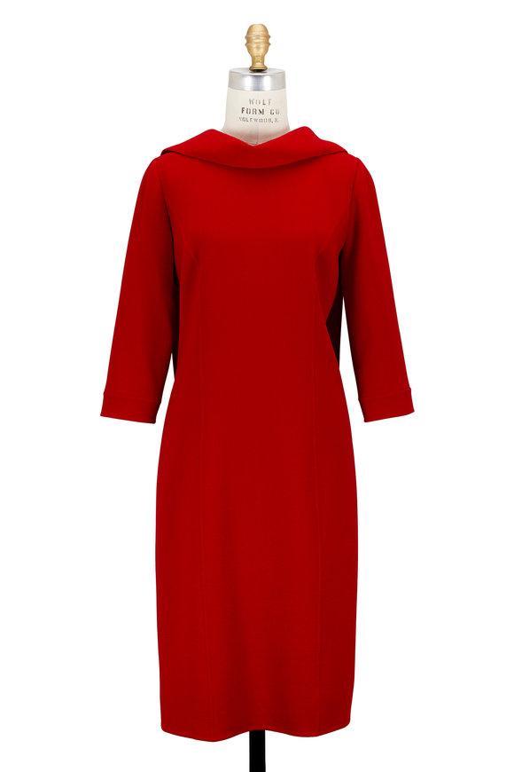 Oscar de la Renta Red Stretch Crêpe Fold-Over Neck Dress