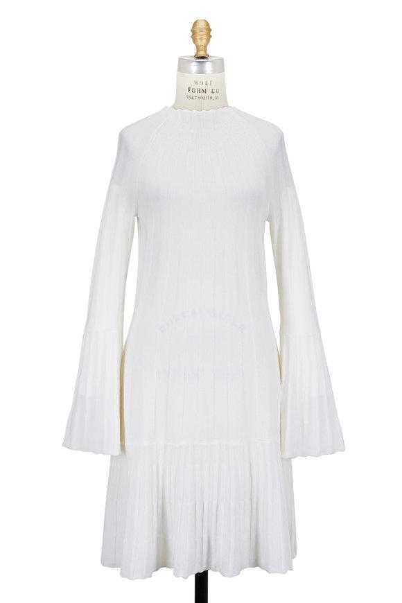 Oscar de la Renta Ivory Ribbed Wool Bell Sleeve Dress