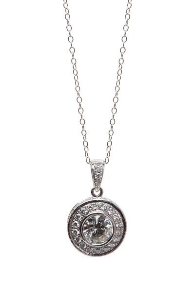 Louis Newman - 18K White Gold Diamond Pendant Necklace