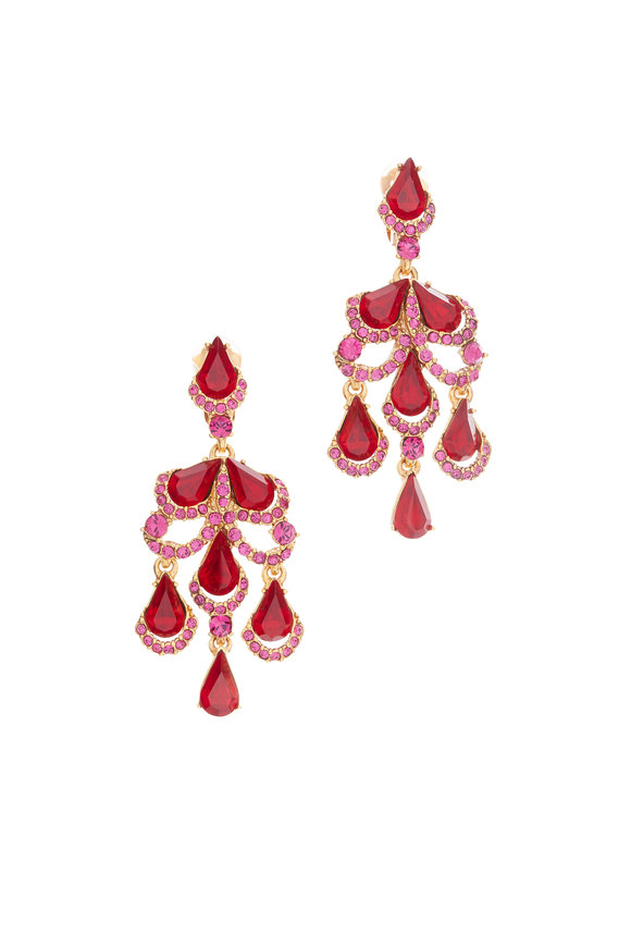 Oscar de la Renta Red & Gold Baroque Crystal Chandelier Earrings