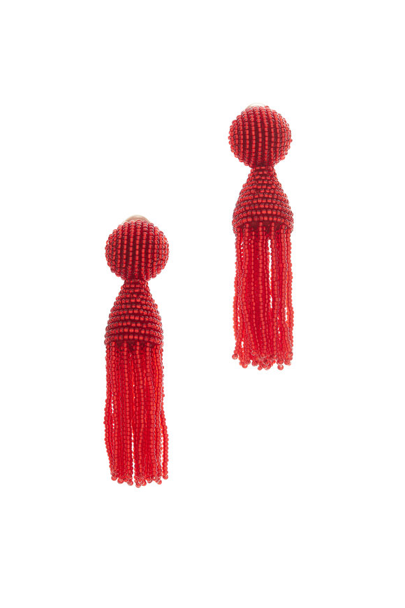 Oscar de la Renta Red Classic Beaded Tassel Earrings