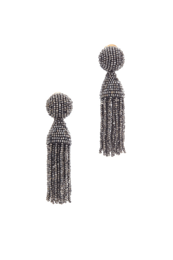 Oscar de la Renta Gunmetal Beaded Classic Tassel Earrings