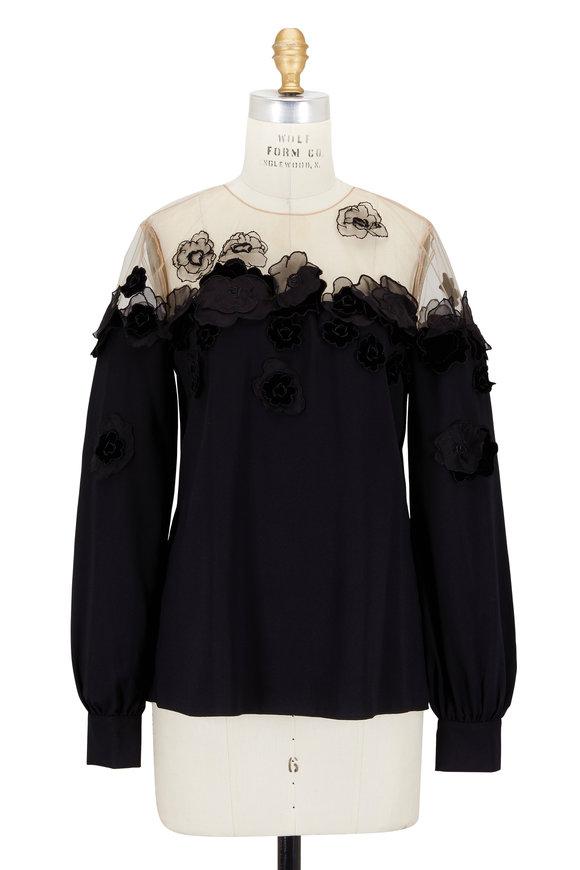 Oscar de la Renta Black Stretch Silk Floral Appliqué Blouse