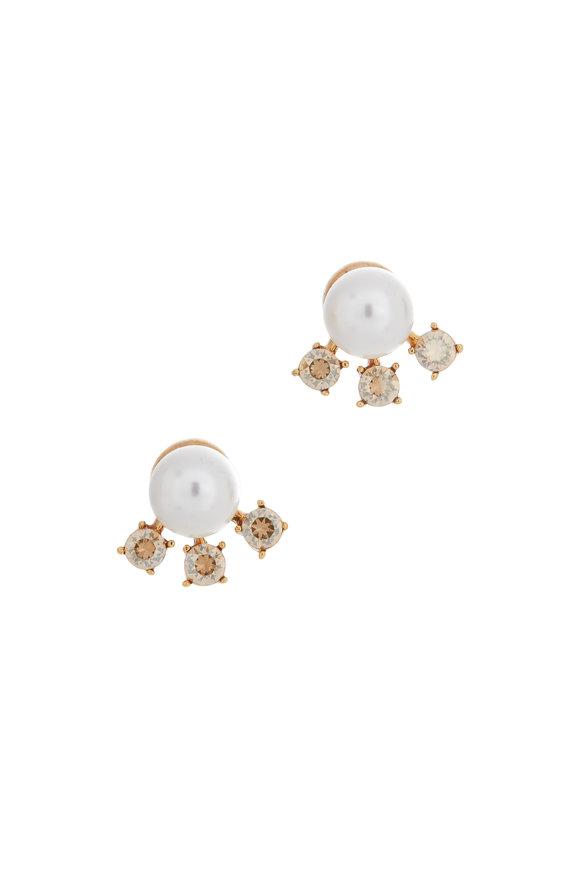 Oscar de la Renta Gold Pearl & Crystal Earrings
