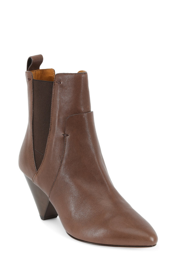 Veronica Beard Landon Brown Vintage Calf Ankle Boot, 65mm