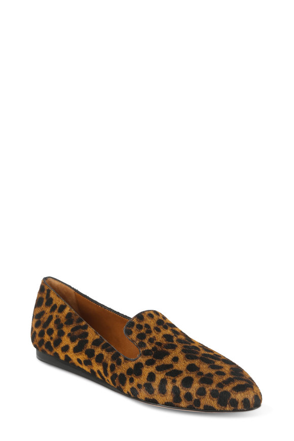 Veronica Beard Griffin Leopard Calf Hair Slipper Flat