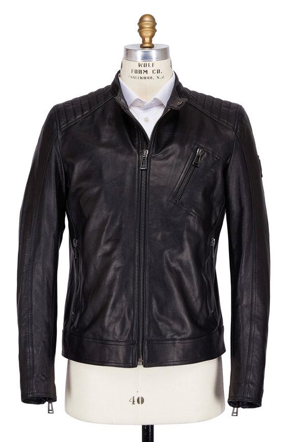 Belstaff V-Racer Black Tumbled Leather Jacket