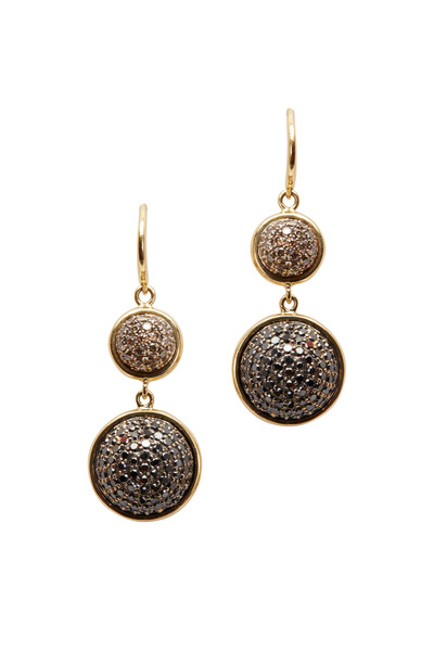 Syna - Gold Black & Champagne Diamond Bauble Earrings