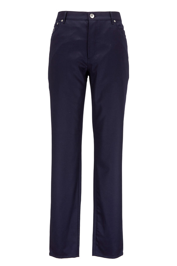 Brunello Cucinelli Navy Flannel Wool Five-Pocket Pant