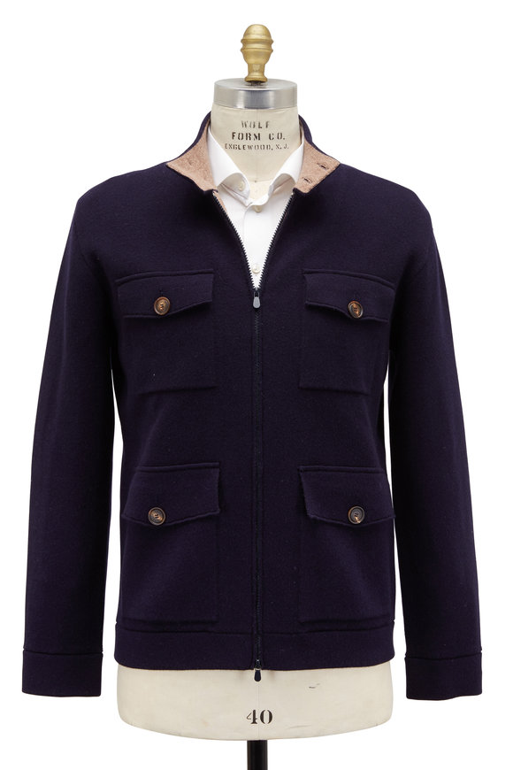 Brunello Cucinelli Navy Blue Cashmere Sweater Jacket